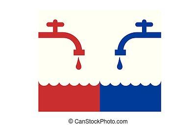 Kalt oder heißes Wasser.