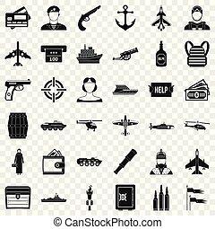 Kampf-Alarm-Icons gesetzt, einfache Stil