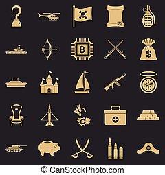 Kampf-Icons gesetzt, einfache Stil