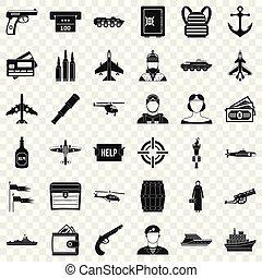 Kampf-Waffen-Icons eingestellt, einfache Art