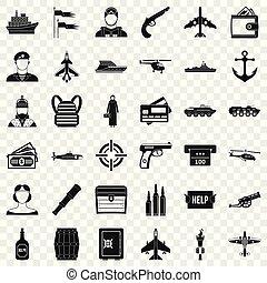 Kampffahrzeug Icons Set, einfache Stil