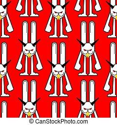 kaninchen, hase, verrückt, wahnsinnig, abbildung, hintergrund., kanninchen, tier, vektor, böser , teufel, texture., seamless., muster, ornament.