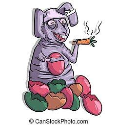 kaninchenkaninchen, begrifflich, sitzen, karotte, ostern, trinken, eggs., entsteint, dicker , art., lustiges, qualmende