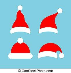 kappe, weihnachten, vektor, ikone, roter hut, oder