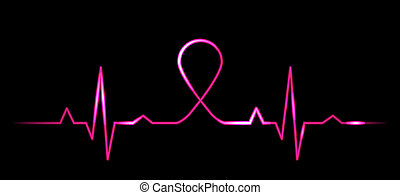 Kardiogramm mit Brustkrebs-Symbo