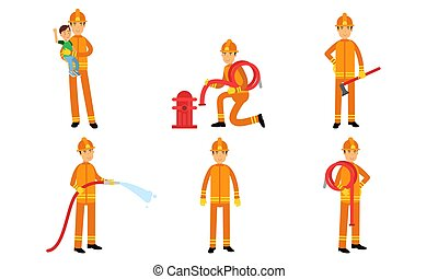 karikatur, aktiv, abbildung, posen, vektor, charaktere, feuerwehrmänner, sitzen