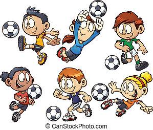 karikatur, fußball, kinder