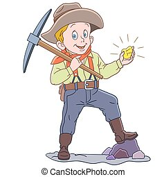 karikatur, goldener bergarbeiter