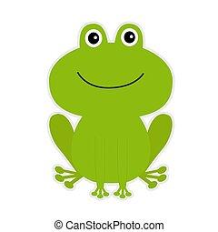 karikatur, grün, reizend, frog.