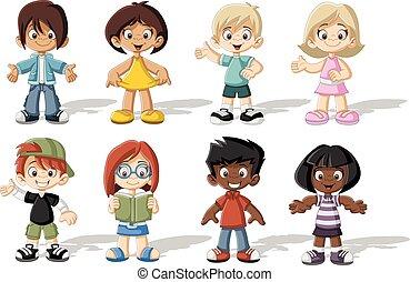 karikatur, gruppe, glücklich, kinder