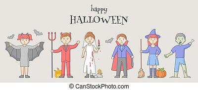 karikatur, halloween, concept., satz, party, feier, wohnung, carnival., vampire, leute, abbildung, grobdarstellung, verkleidet, vektor, charaktere, linear, holiday., hexen, übel, feiern, style.