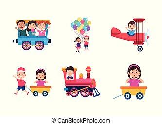 karikatur, ikone, kinder, satz, spaß, haben, design, bunte, glücklich