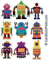 karikatur, ikone, roboter, farbe