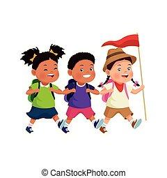 karikatur, kinder, fahne, forscher, glücklich