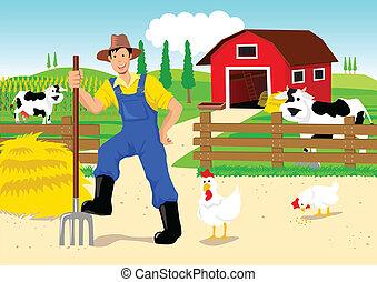 karikatur, landwirt