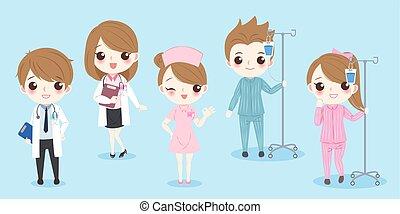 karikatur, patient, doktor