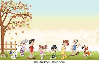 karikatur, reizend, family.