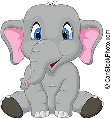 karikatur, reizend, sitzen, elefant