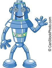karikatur, roboter, reizend