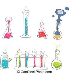 karikatur, satz, chemie