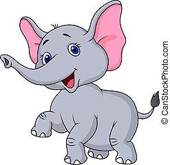 karikatur, tanzen, elefant