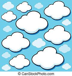 karikatur, vektor, wolkenhimmel