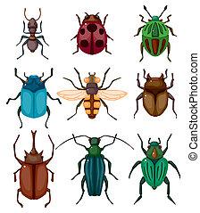 karikatur, wanze, ikone, insekt