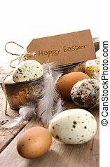 karte, brauner, eier, ostern, gesprenkelt
