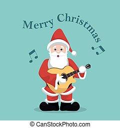 karte, gitarre, akustisch, spielende , weihnachten, claus, santa