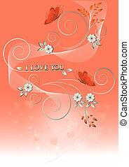 Karte mit Blumen und Schmetterlingen t