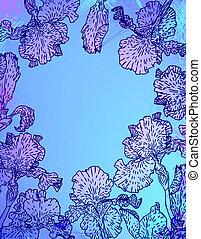 Karte mit Irisblumen auf blauer Wasserfarbe