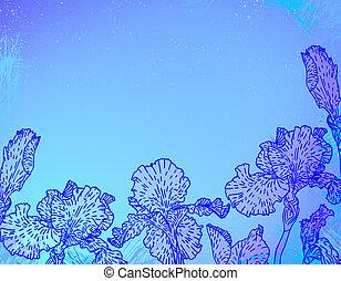 Karte mit Irisblumen auf blauer Wasserfarbe.