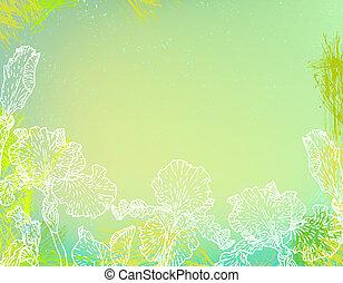 Karte mit Irisblumen auf grünem Wasser