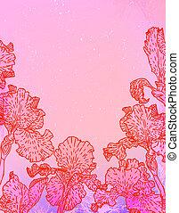 Karte mit Irisblumen auf rosa Aquarell