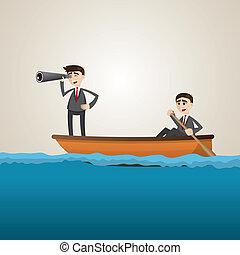 Kartoon Businessman paddelt auf See mit Teamkameraden.