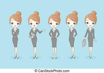 Kartoon Geschäftsfrau eingestellt.