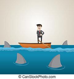 Kartoon-Geschäftsmann auf Boot mit Hai im Meer.