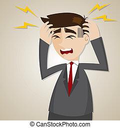 Kartoon-Geschäftsmann-Kopfschmerzen.