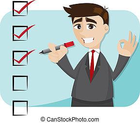 Kartoon-Geschäftsmann mit Checkliste.