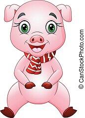 Kartoon glückliches Schwein mit einem roten Schal.
