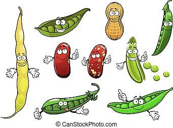 Kartoon hat Erbsen, Bohnen und Erdnuss isoliert.