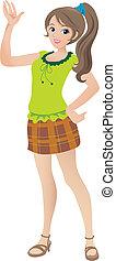 Kartoon Illustration einer schönen jungen Frau mit einem Pferdeschwanz winken und lächeln.