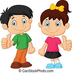Kartoon-Junge und Mädchen geben Daumen u.