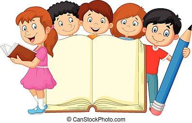 Kartoon Kinder mit Buch und Bleistift.