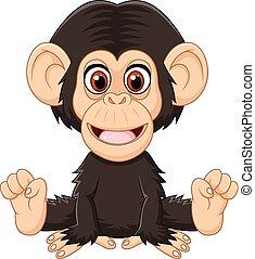 Kartoon lustiger, kleiner Schimpanse.
