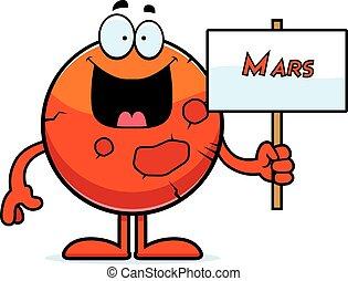Kartoon-Mars-Schild.