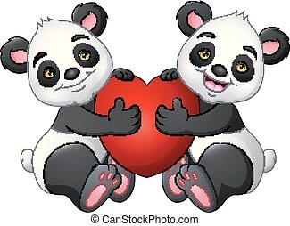 Kartoon Paar Panda mit einem roten Herzen.
