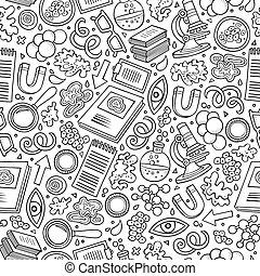 Kartoon süße Hand gezeichnet Wissenschaft nahtlos Muster