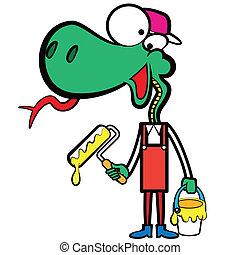 Kartoon-Schlangemaler mit einem Pinsel.