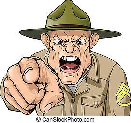 Kartoon wütende Armee-Bohrer schreiend.